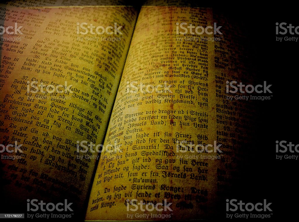Bible with gothic  lettering and grungy texture stock photo