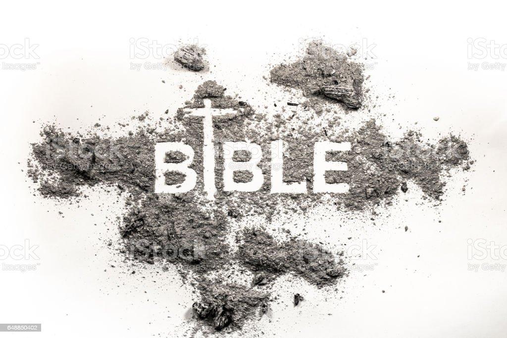Bible word written in grey ash stock photo