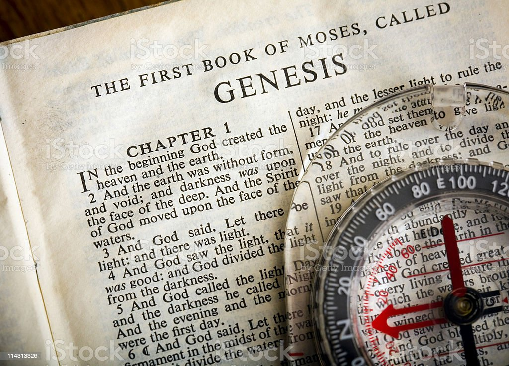 Bible/compass: Genesis #2 royalty-free stock photo