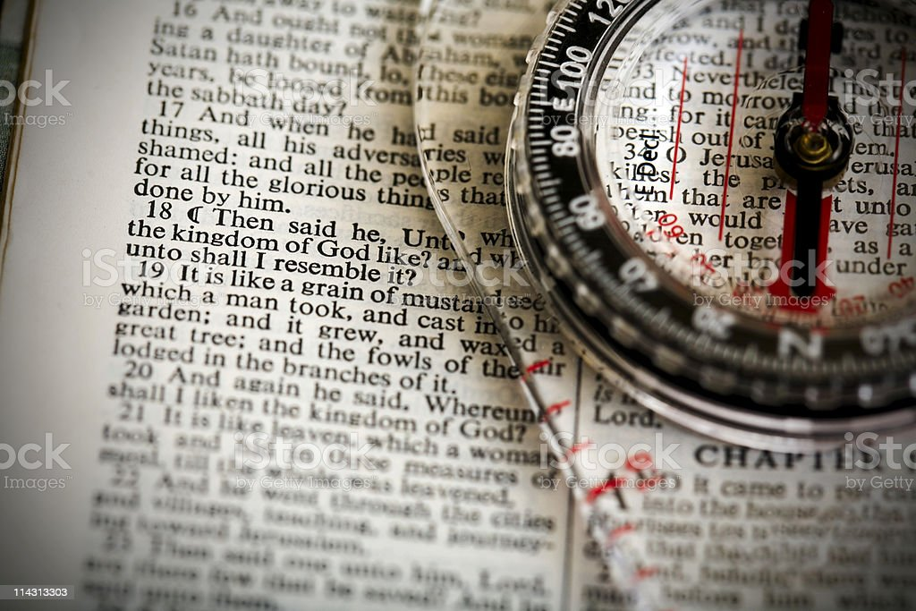 Bible/compass: Grain of mustard seed royalty-free stock photo