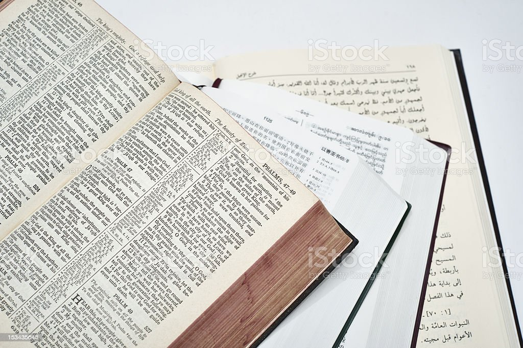 Bibles in Different Languages stock photo