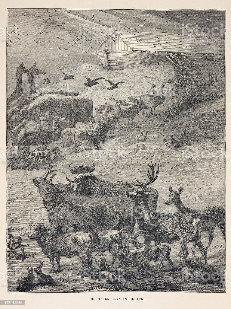 Biblical engraving, animals boarding Noah's Ark (1873) royalty-free stock photo