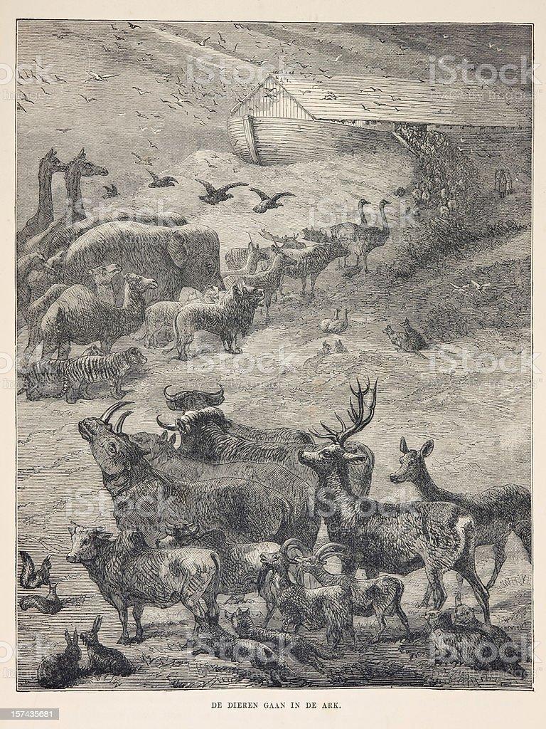 Biblical engraving, animals boarding Noah's Ark (1873) stock photo