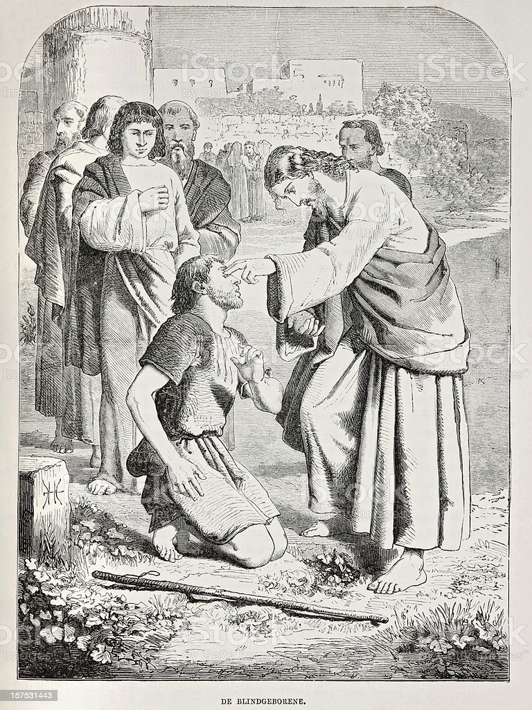 Biblical engraving depicting Jesus healing the blind man, Gospels (1873) stock photo