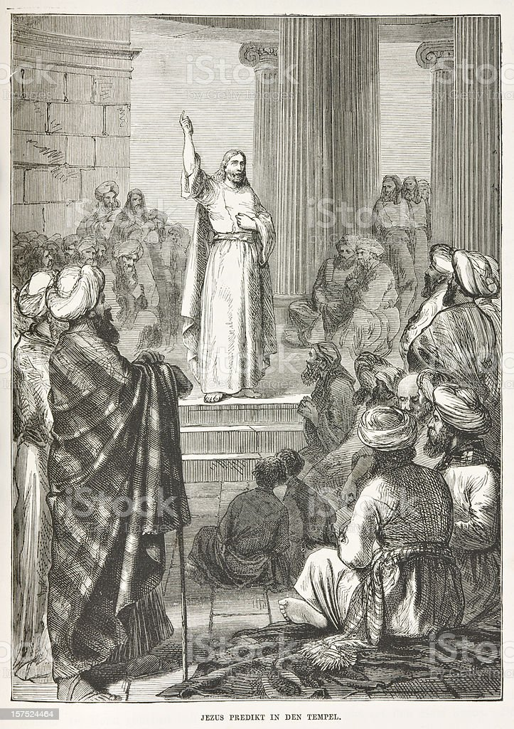 Biblical engraving depicting Jesus preaching in the temple (1873) stock photo