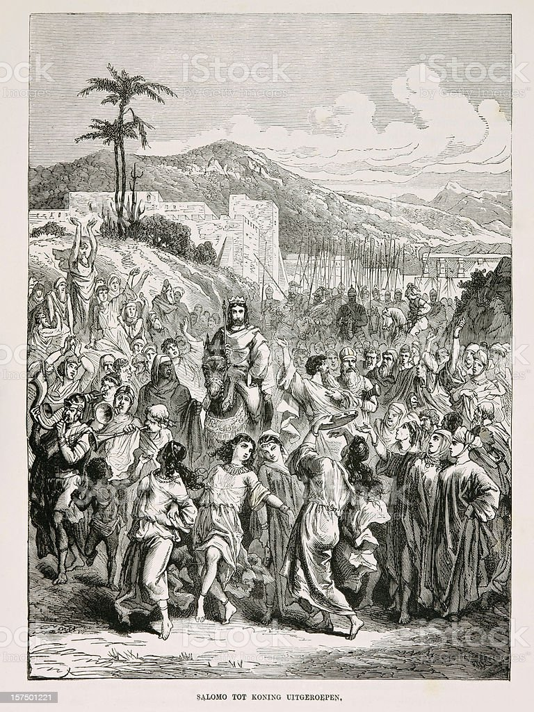 Biblical engraving, The crowning of King Solomon (1873) stock photo