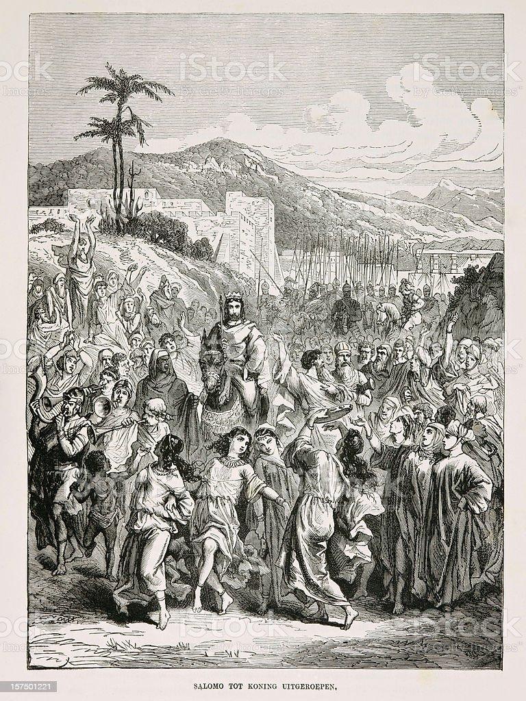 Biblical engraving, The crowning of King Solomon (1873) stock photo