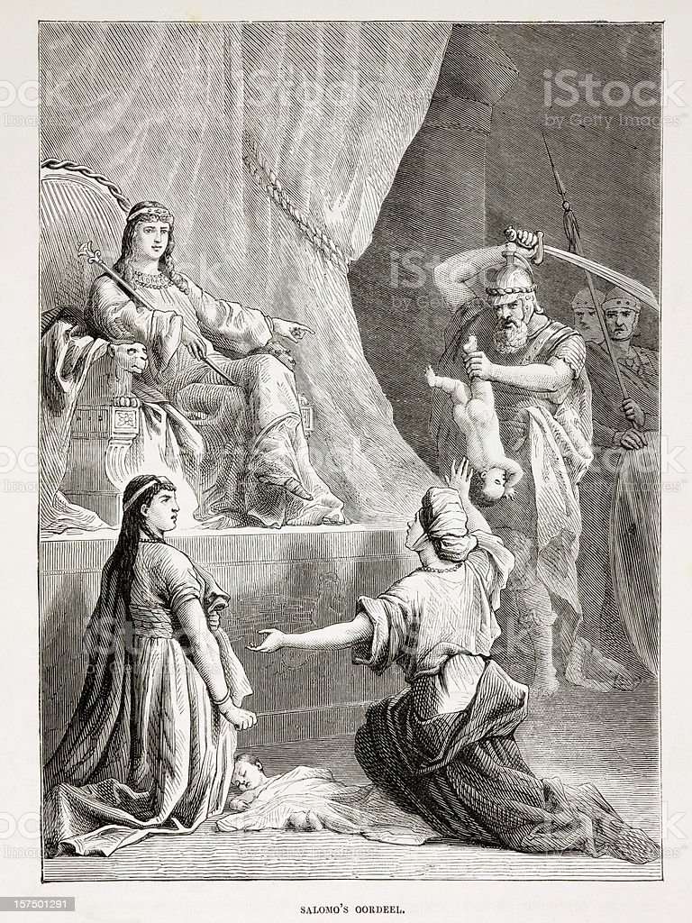 Biblical engraving, The Judgment of king Solomon (1873) stock photo
