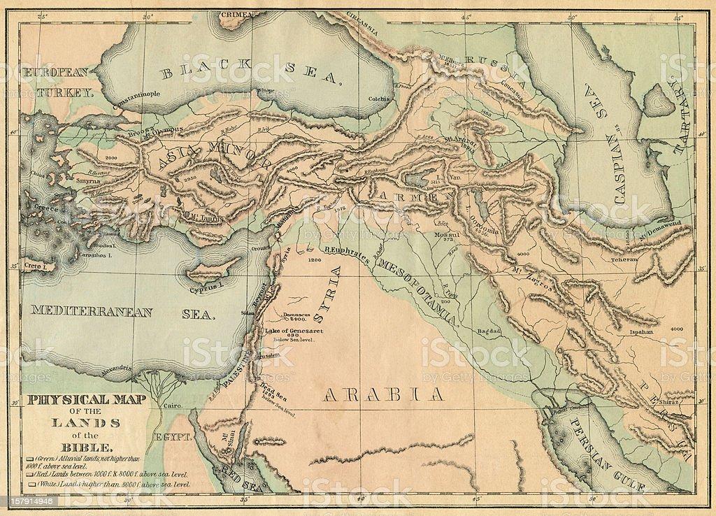 Biblical lands map stock photo
