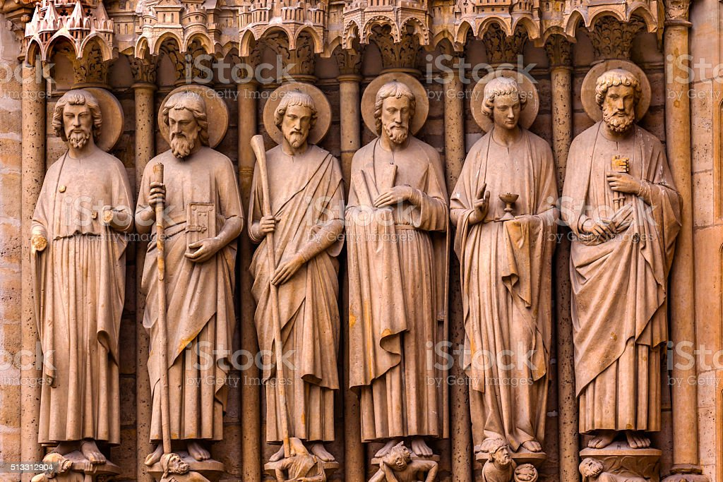 Biblical Saint Statues Door Notre Dame Cathedral Paris France stock photo