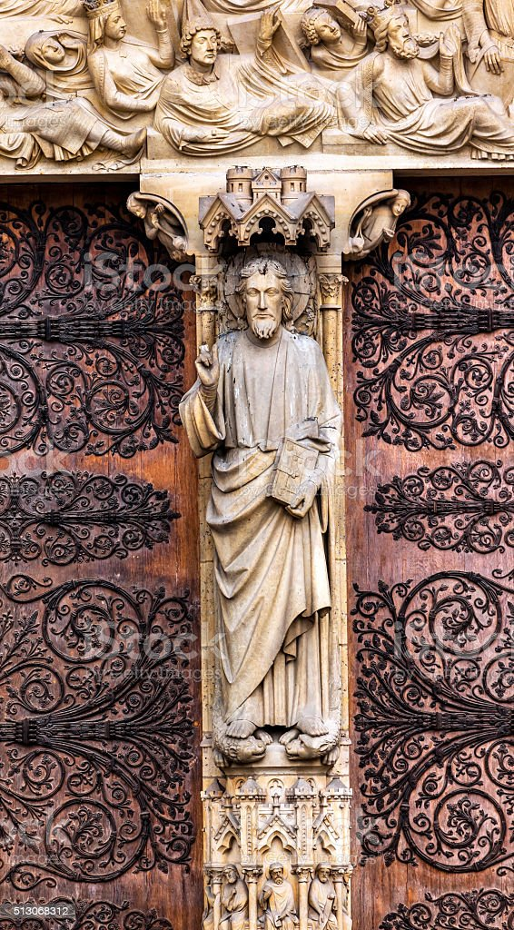 Biblical Statues Judgement Door Notre Dame Cathedral Paris France stock photo