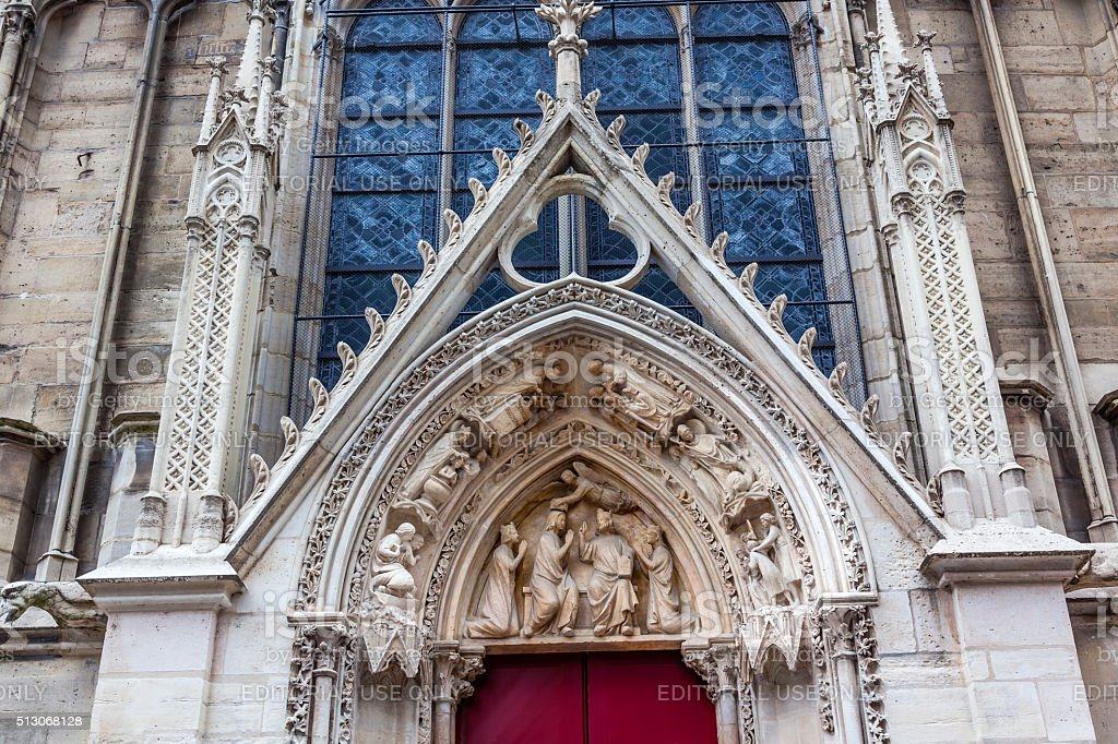 Biblical Statues Little Red Door Notre Dame Cathedral Paris France stock photo