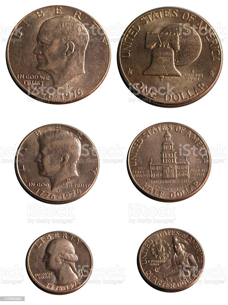 Bicentenial coins stock photo