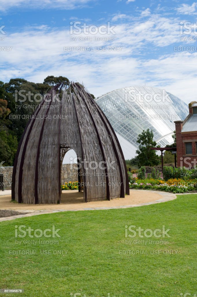 Bicentennial Conservatory and Hut, Adelaide Botanic Garden, South Australia stock photo