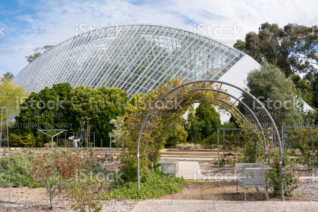 Bicentennial Conservatory and Rose Garden, Adelaide Botanic Garden, South Australia stock photo