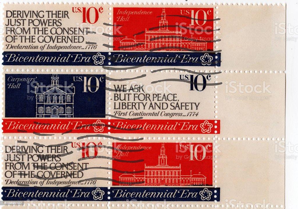 Bicentennial Era Stamp - US Postage stock photo