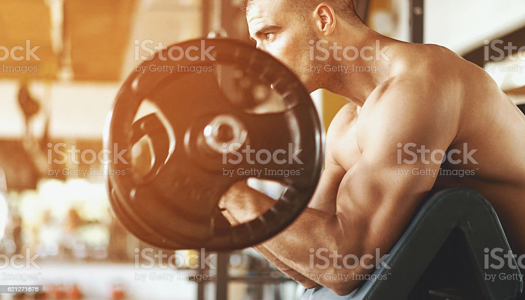 Bicep curls. stock photo