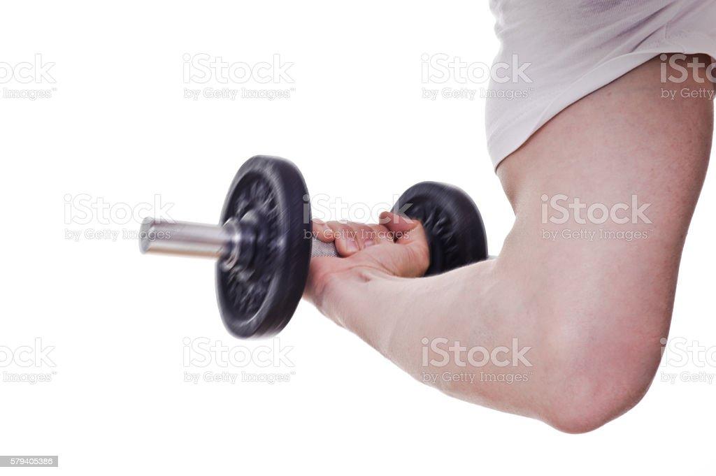 Bicep training stock photo