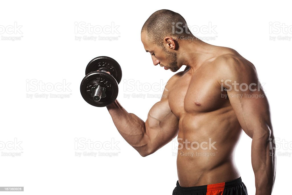 Bicep workout stock photo
