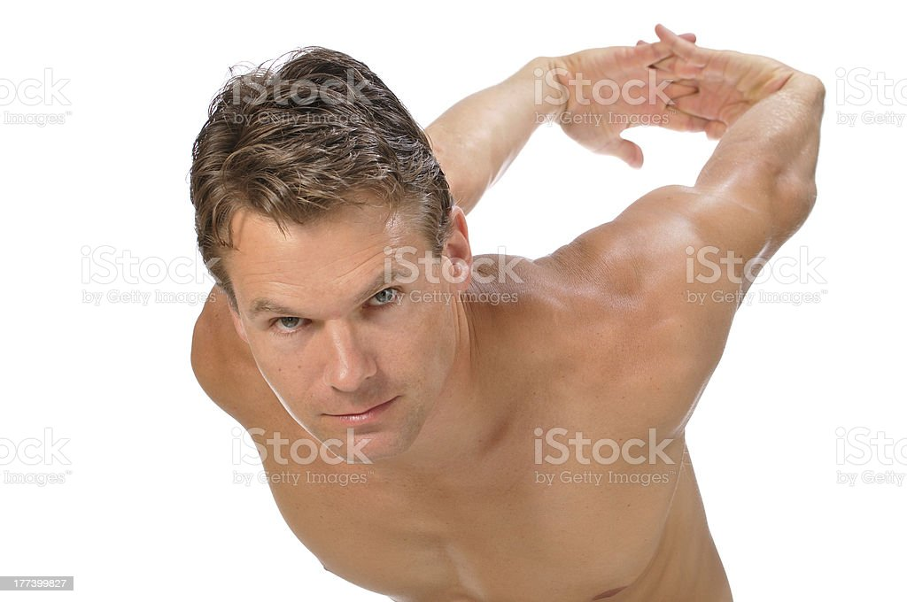 Biceps and shoulder stretch royalty-free stock photo