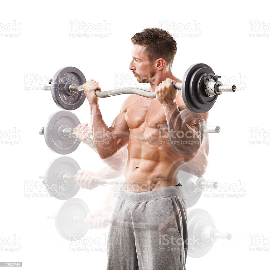 Biceps exercise, barbell curl. royalty-free stock photo
