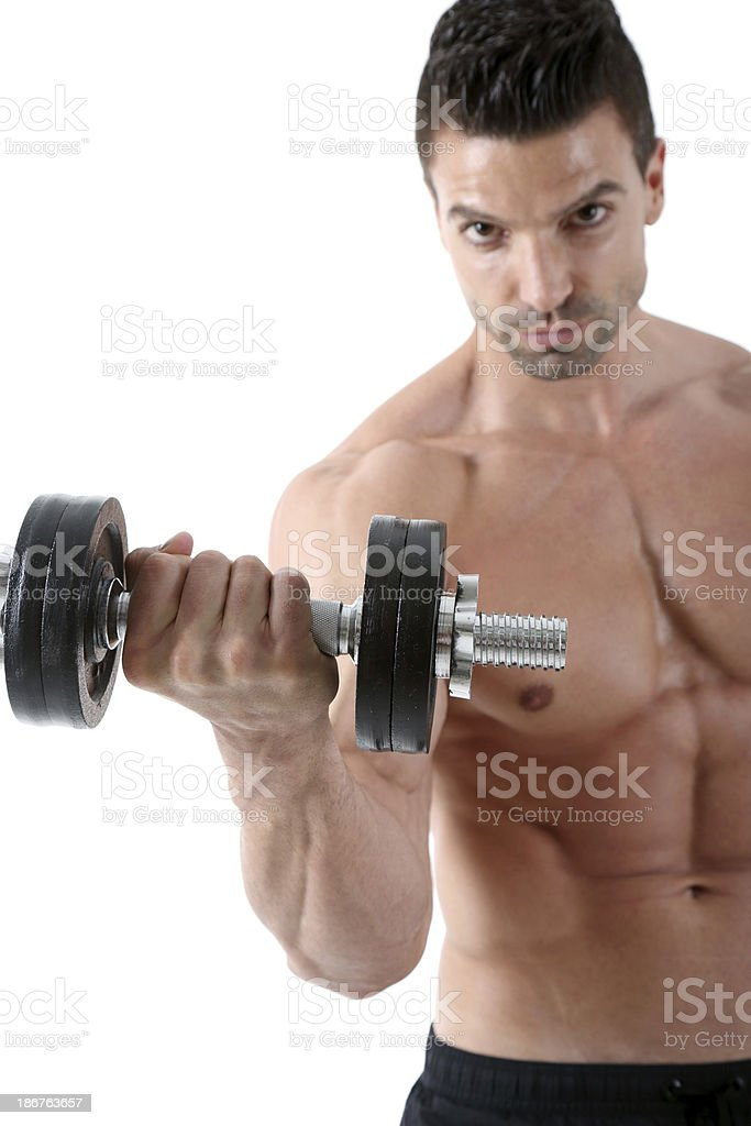 Biceps exercise royalty-free stock photo
