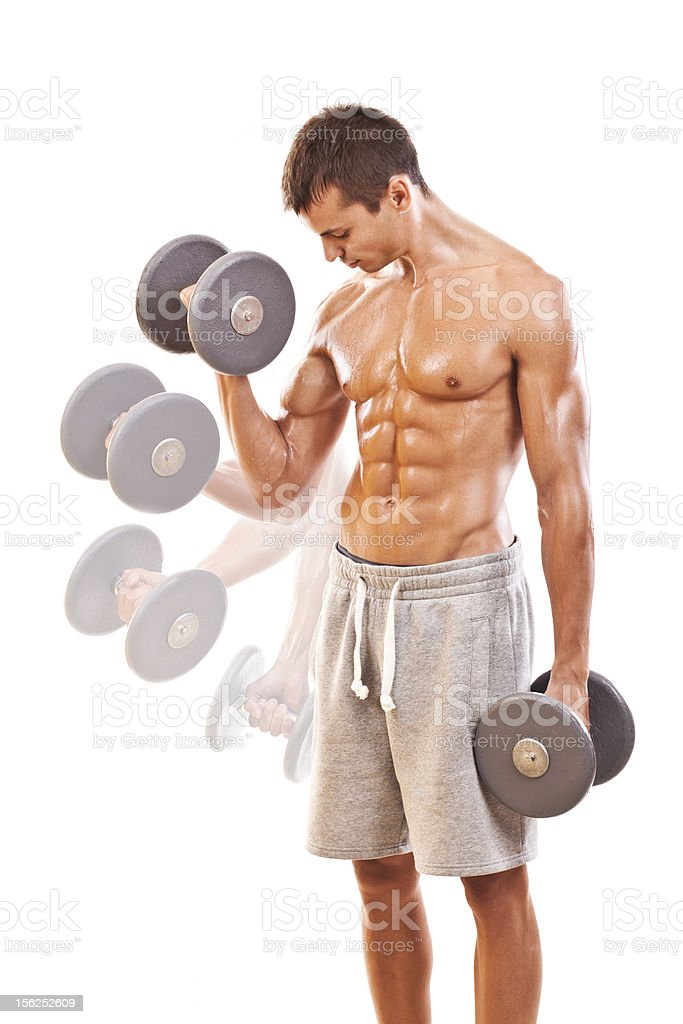 Biceps exercise with dumbbells stock photo