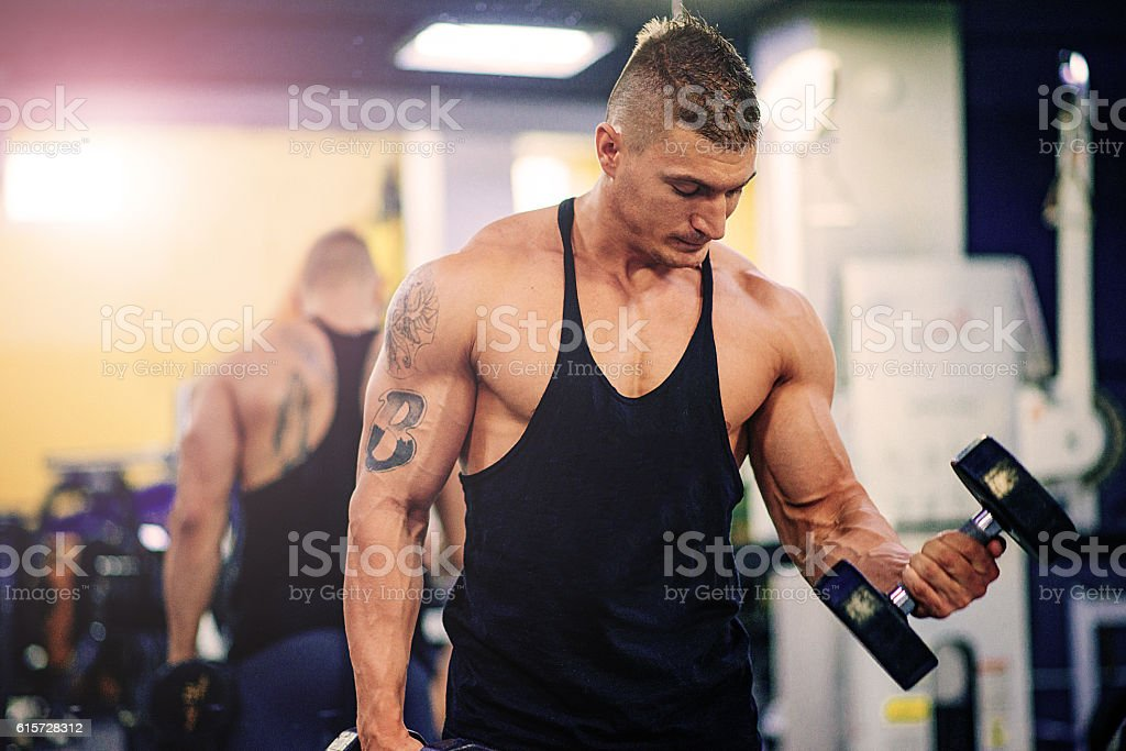 Biceps workout in gym stock photo