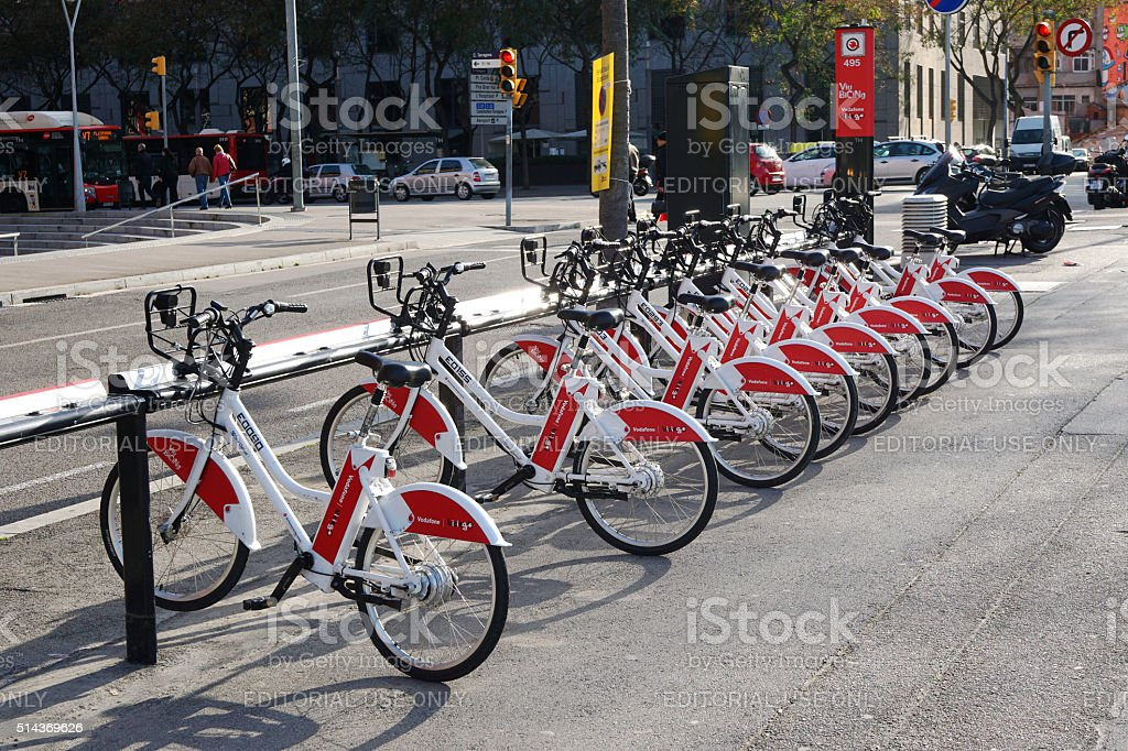 Bicing bicycle sharing station in Barcelona stock photo
