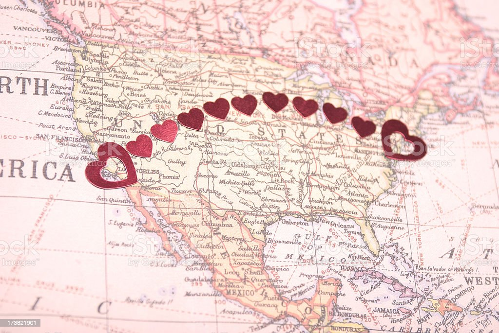 Bicoastal Coast-to-Coast American Romance Hearts on Map royalty-free stock photo