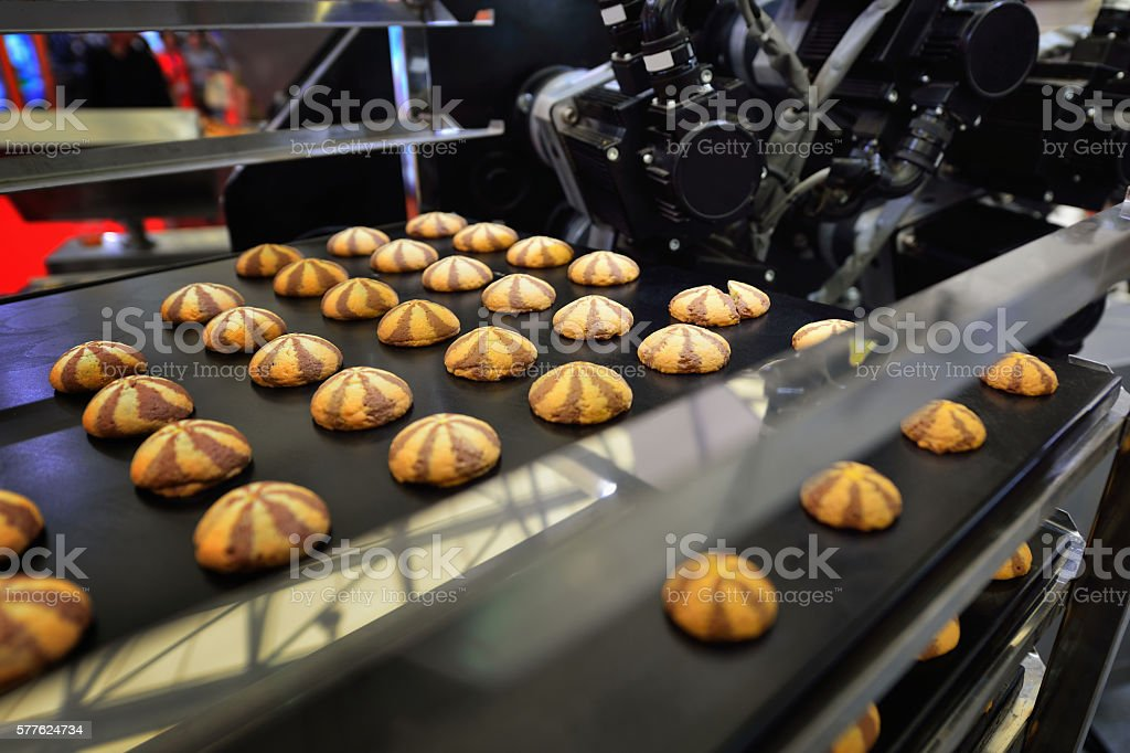 Bicolor Cookies in the Production Line stock photo