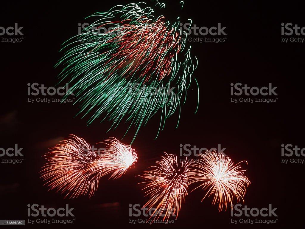 bi-color fireworks stock photo