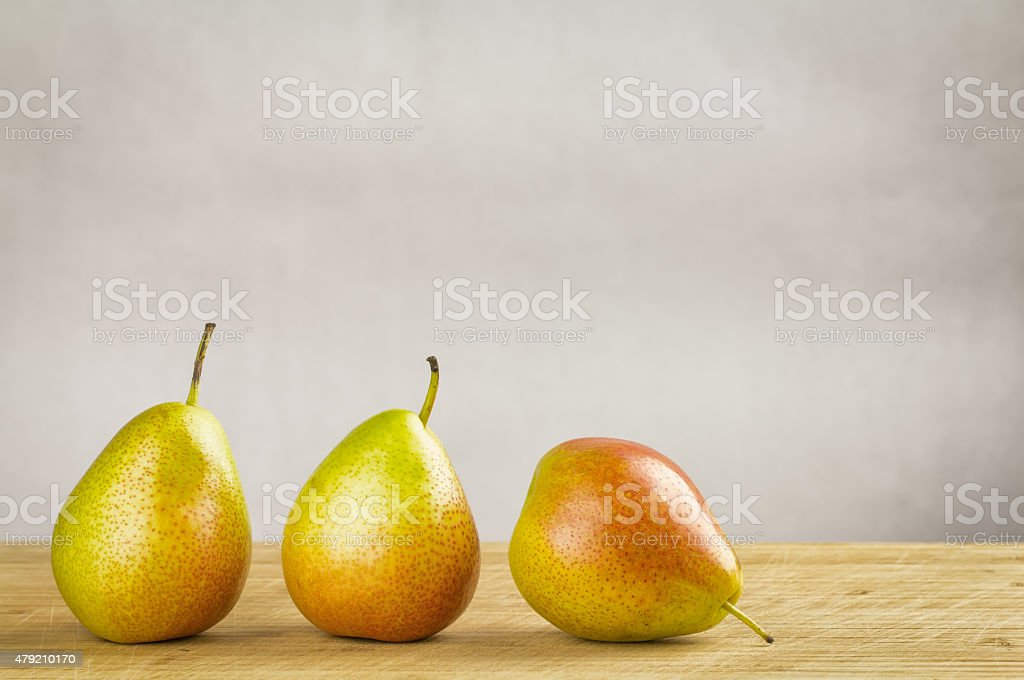 Bi-coloured forelle pears stock photo