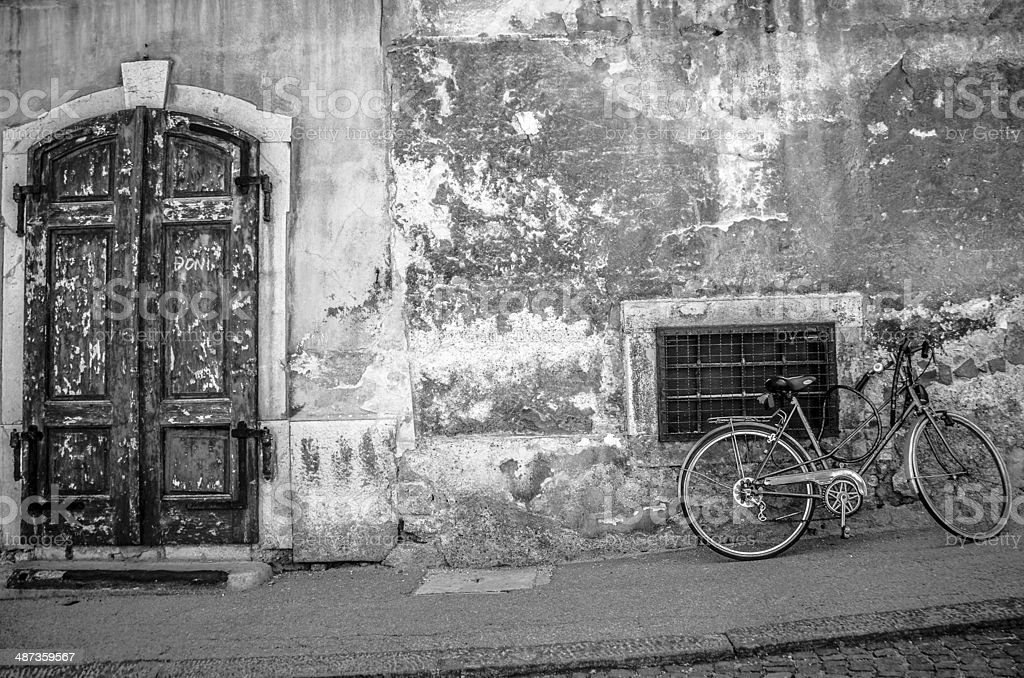 Bicycle and a Door - B&W royalty-free stock photo