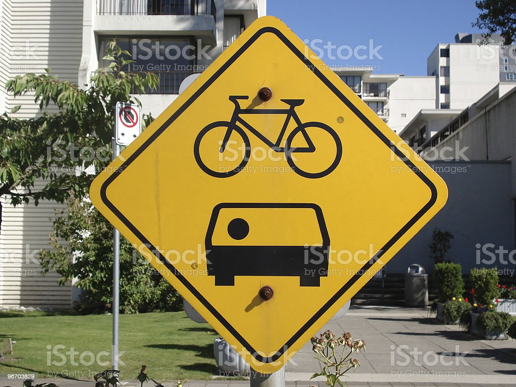Bicycle and Carpool Road Sign royalty-free stock photo