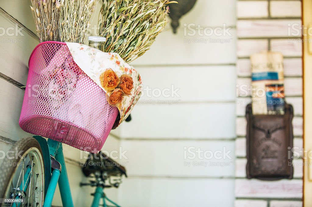 bicycle and newspaper stock photo