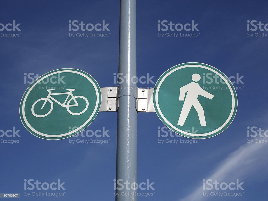 Bicycle and pedestrian walkway sign royalty-free stock photo
