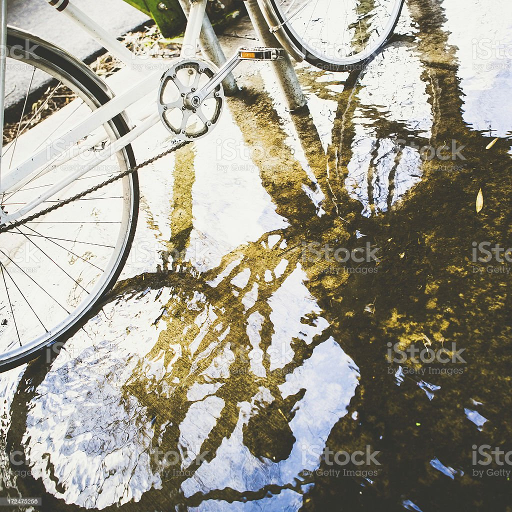 Bicycle and Reflection in Puddle of Water royalty-free stock photo