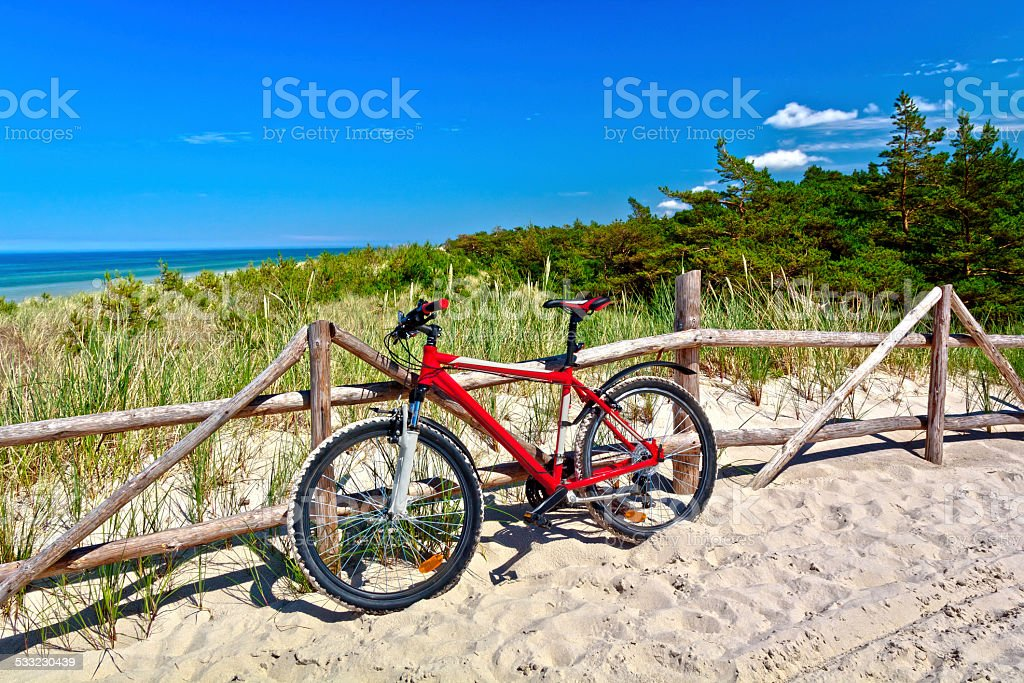 Bicycle and sand path through the dunes, Baltic Sea stock photo