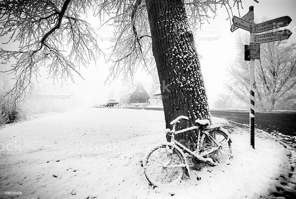 Bicycle and snowy day royalty-free stock photo