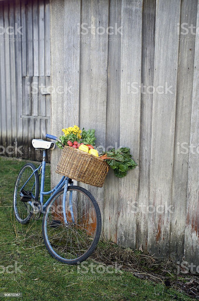 Bicycle and Vegetables stock photo