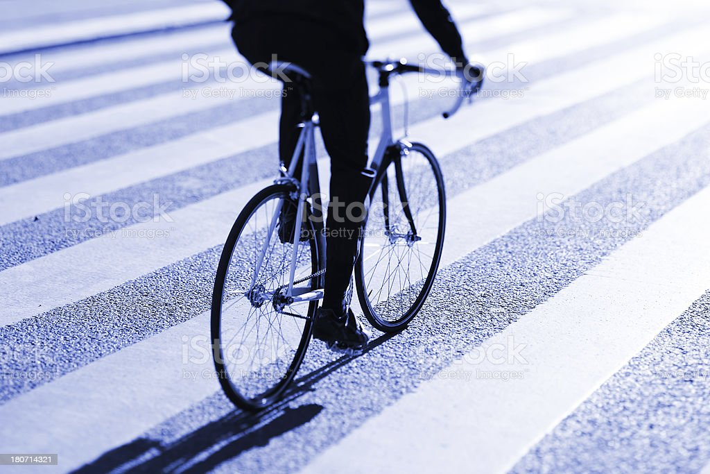 Bicycle and zebra crossing royalty-free stock photo