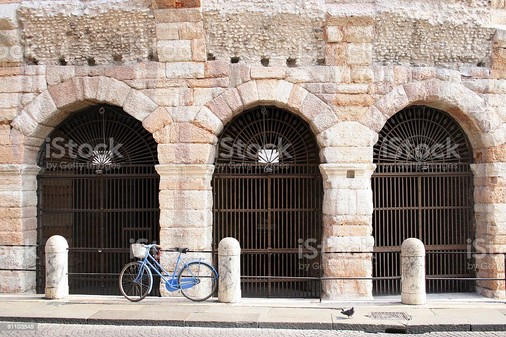 Bicycle at Arena stock photo
