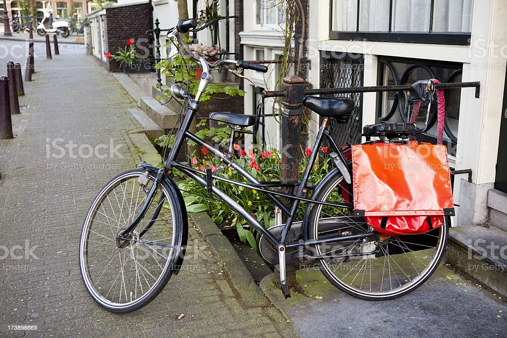 Bicycle at House in Amsterdam royalty-free stock photo