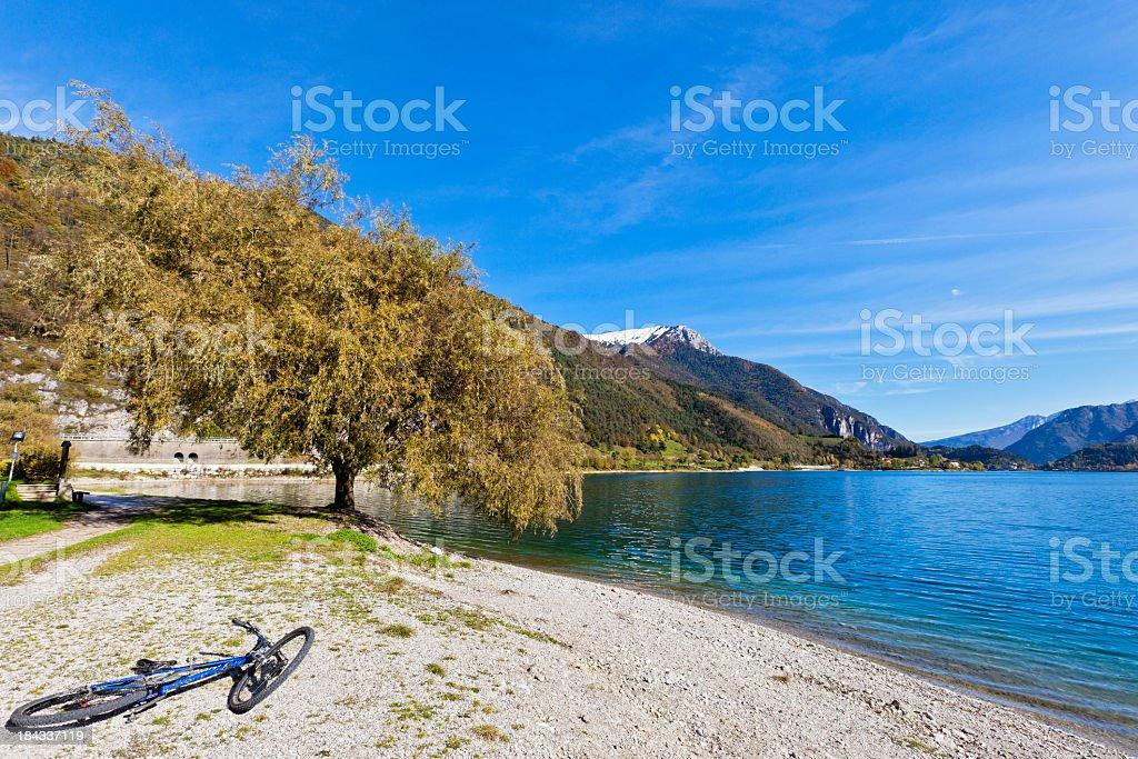 Bicycle At Lake Ledro stock photo