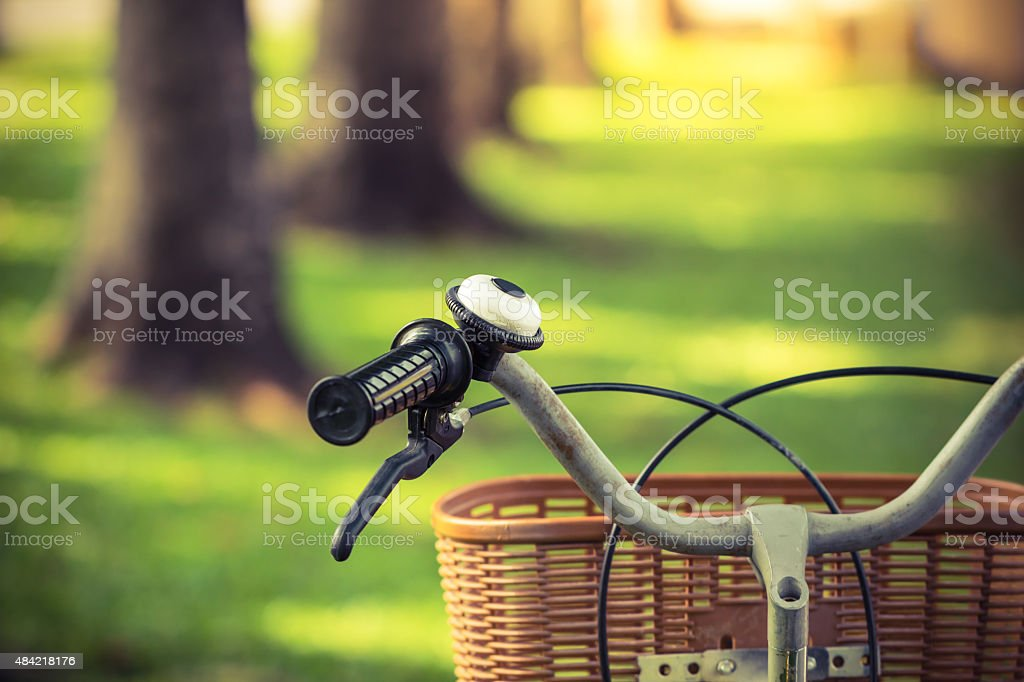 Bicycle at park stock photo