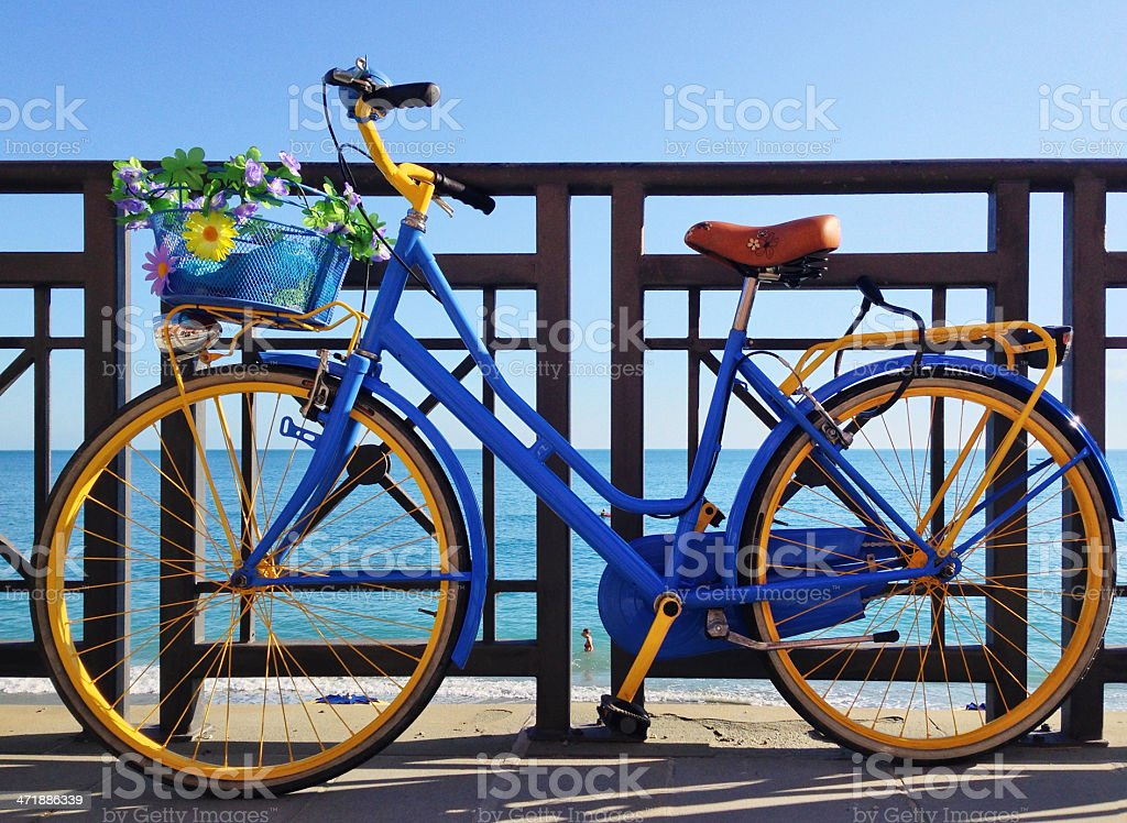 Bicycle at the seaside stock photo