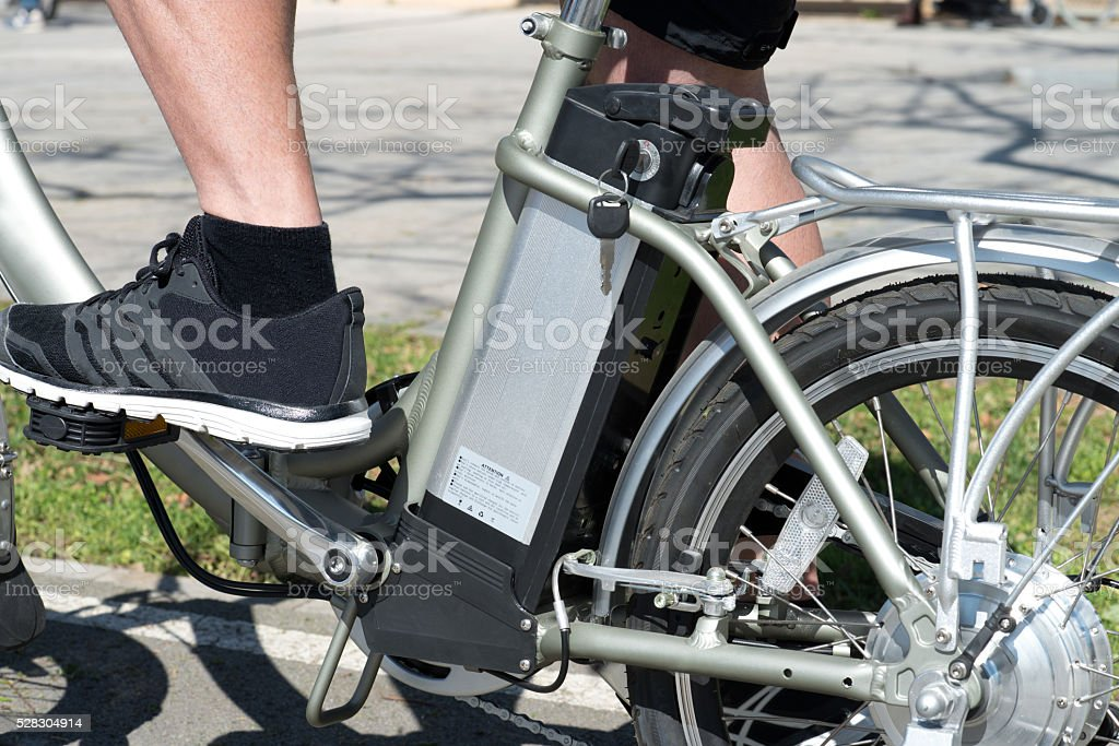 bicycle battery detail stock photo