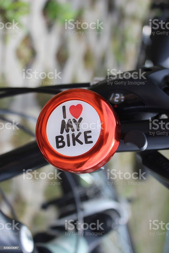 Bicycle bell 'I love my bike' stock photo