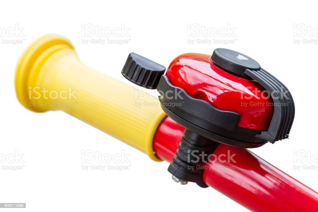 Bicycle bell on handlebars stock photo